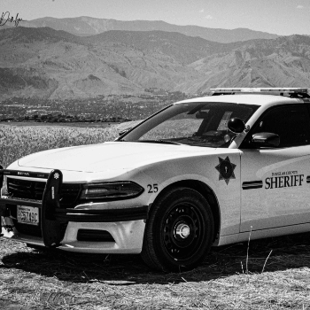 Black and white photo Police Vehicle
